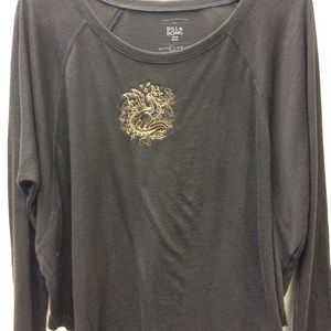 Charcoal Grey Embroidered Dragon Top